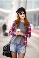 2012 Autumn Women's Manufactory Supply Korean Plaid Crew Neck Long -Sleeve Loose Fit T-shirt Nice Asymetric Top S-XL