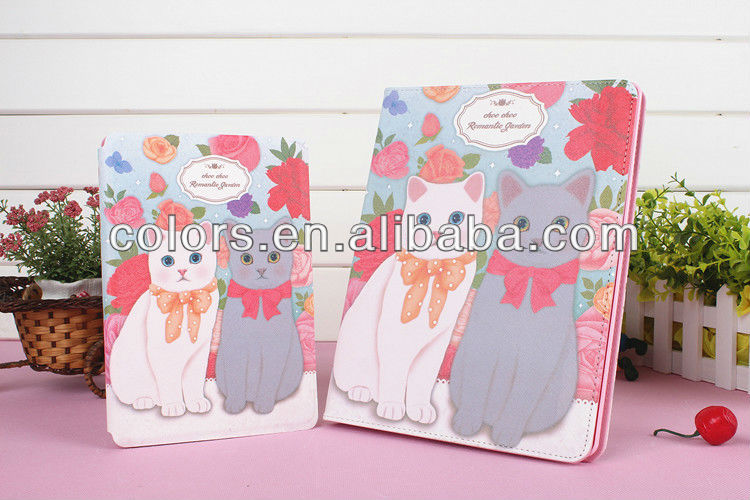For Apple ipad 2/ 3/4 cute cat PU leather stand case / holder case