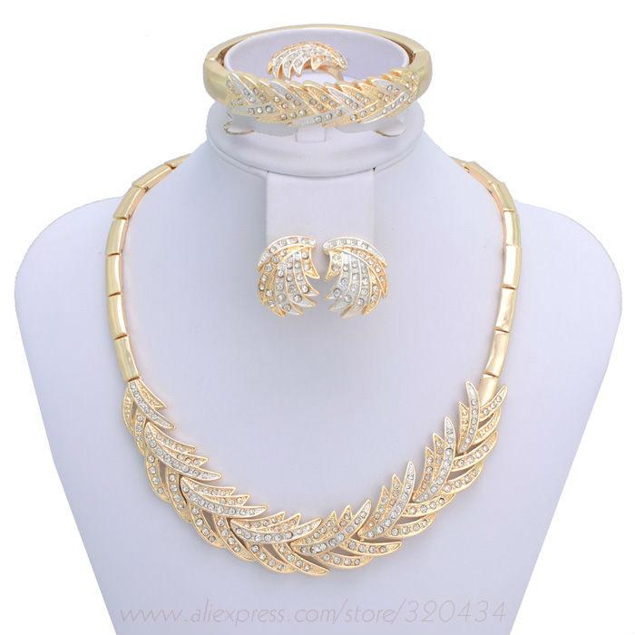 18k Gold Plated Wedding Jewelry Set,Luxury Women Party Set ...