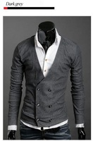 Мужской кардиган Men's Knitwear Cardigan Double Breasted Slim Casual Sweater Coat M L XL Retail & Y01