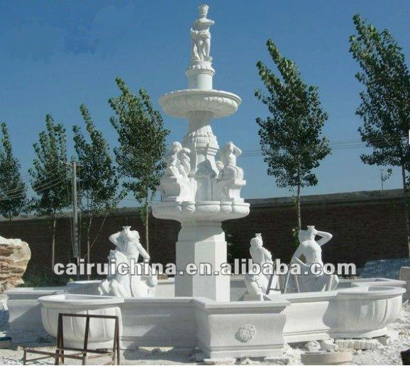 White Marble Statue Pool Fountain, View marble statue fountain ...