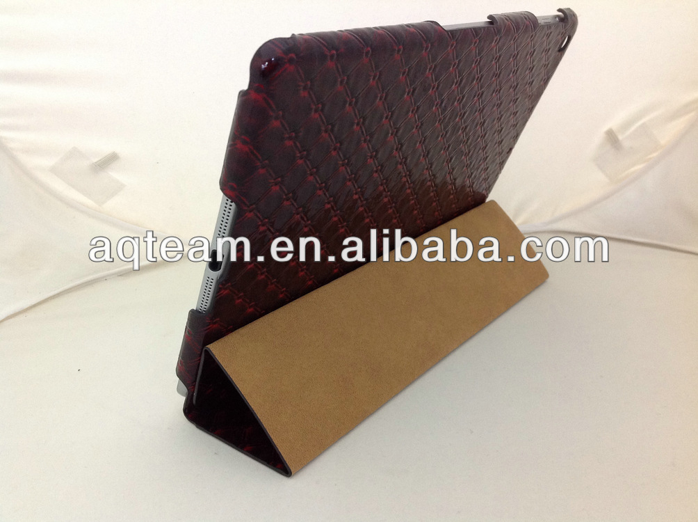Fashion Checkered Ultra-thin Back Cover Sleep Wake Features Stand Leather Case For ipad mini 2