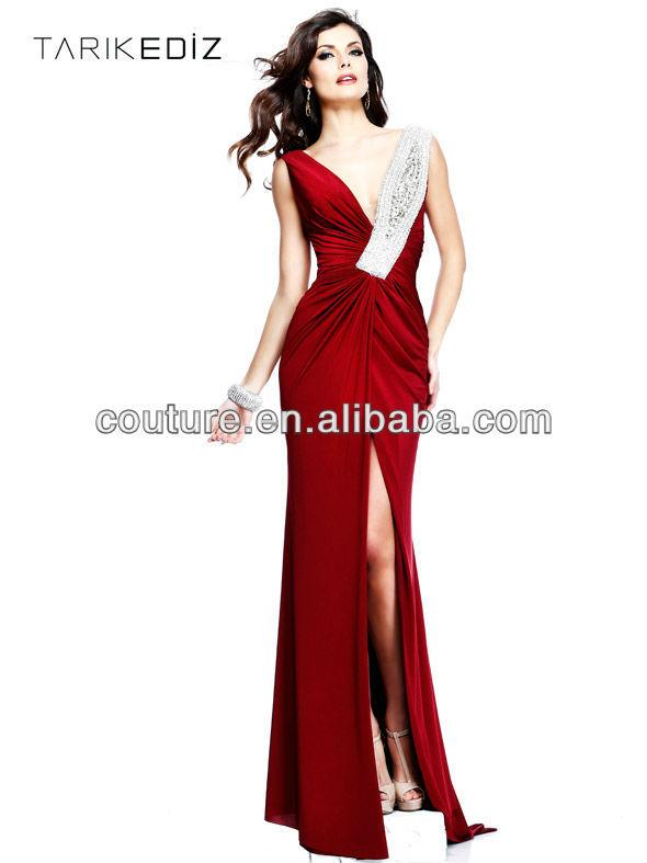 Latest ED358 Top quality sheath v-neck beaded pearls ruffles chiffon red front split backless evening dress design photos 2014