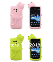 10pcs/lot.hot Diffie Cat 3D Silicone soft Case Cover For Sony MT25i Xperia neo L, retail package,free shipping