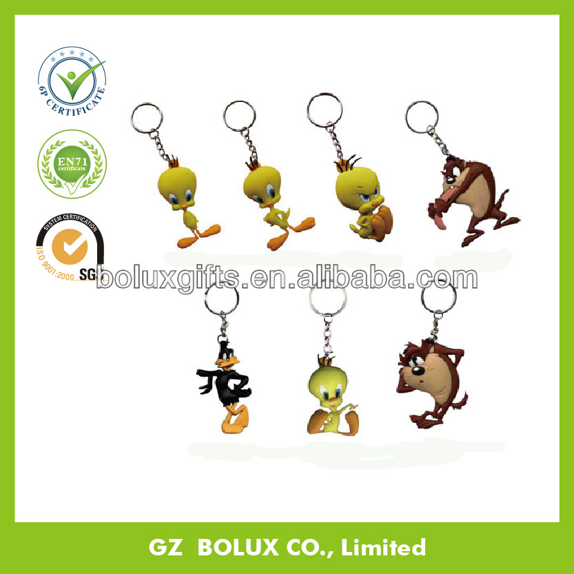 OEM lovely popuar cartoon shape Soft pvc rubber plastic promotional key chain for advertising business gifts