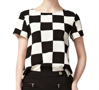 2013 fashion ladies t-shirt,wholesale lady t-shirts, black and white plaid lady t-shirt