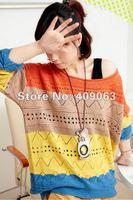 Fashion Korean Plus Size Women's Knitted Sweater Lady's Knitwear Batwing Coat