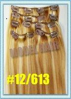 Новое сочетание цветов! 22 дюйма, #12/613, 7pcs/пакет, 100% ролик в волосы extention, индийский человеческих волос, мед отбеливатель блондинка