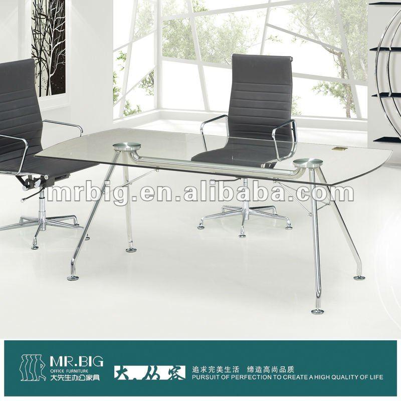 تصميم عصري db016 الزجاج اجتماع مائدة
