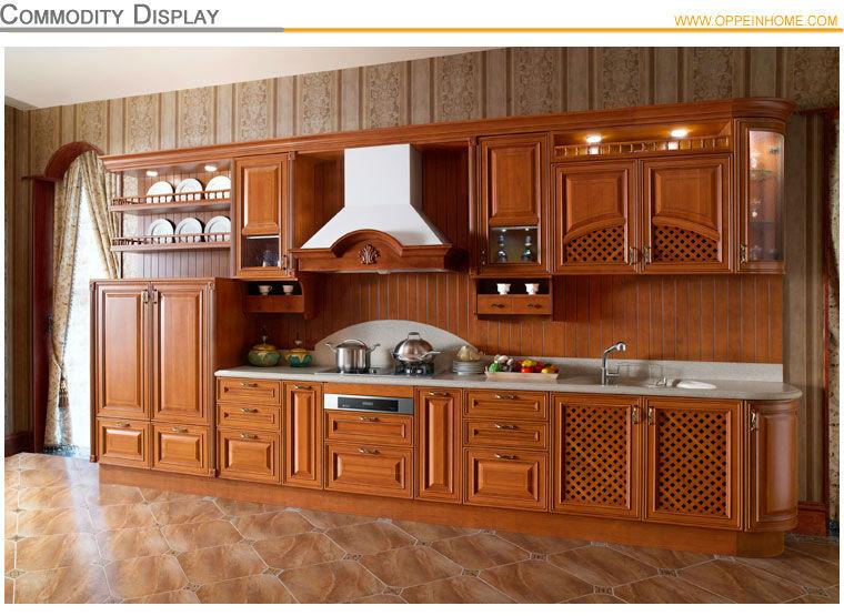 Oppein moderne en bois massif d 39 armoires de cuisine avec for Armoire de cuisine en bois massif