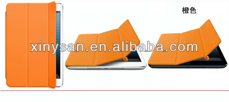 High Quality Smart Cover for ipad mini, Slim Magnetic Leather Case for ipad mini-wake/sleep function