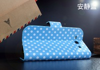 Retro Polka Dot PU Leather case for Samsung Galaxy S3 I9300 folding pouch stand cover free shipping