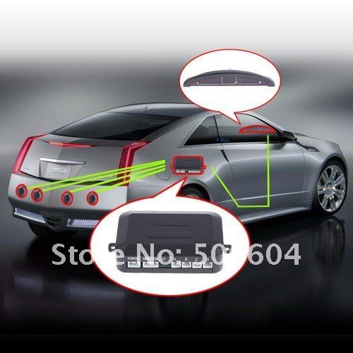 Car/Auto/Vehicle Reverse 4 Parking Sensors Backup Rear Radar Alarm LED Display ,Free shipping