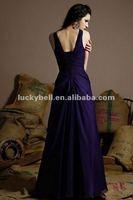 Free Shipping V-neck Spaghetti Strap Purple Chiffon Formal Evening Dress