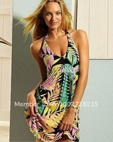 2012 New Women Sexy Deep V Nylon Lear print Swimwear Bikini Cover Up Shirt Beach Dress