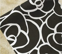 Обои High/grade Rose Flower Pattern Flocking Wallpaper Roll Black Color+Free postage