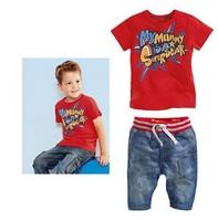 Детская одежда набор baby мальчик 100% хлопок топ Футболка + джинсы брюки 2cps Полиэстеровый костюм