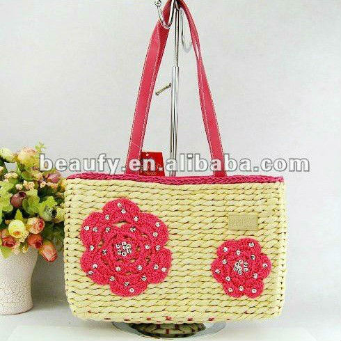 grass green embrosider women basket bags