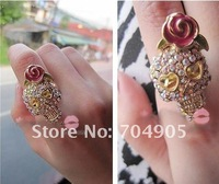 Кольцо 2013 New Christmas Gift Fashion Jewelry Full Imitation Diamond Skull Rose Ring PK-001