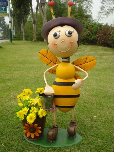 M Tal Bee Avec Pot Jardin D Coration Animaux Artisanat