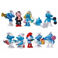 Free Shipping, New Cute Cartoon Smurf Action Toy Figure, PVC Doll, 10 Styles Set, Kids Children Gift 80502