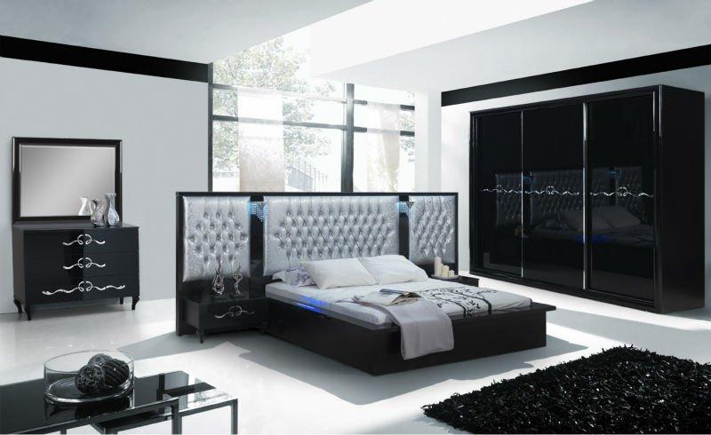 Avangarde coulissante chambre set avec cran tactile for Chambre a coucher moderne mauve et noir