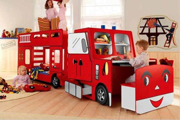 Funky camion lit superpos avec bureau enfant feu superpos s lit lit d 39 en - Lit superpose camion de pompier ...