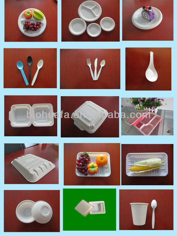 Eco disposable plastic food container with different sizes made from corn starch