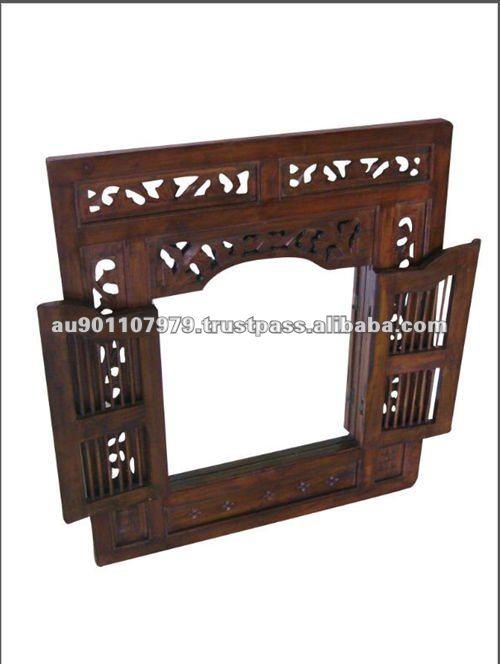 Petit acajou massif en bois sculpt mur miroir miroir id for Polir aluminium miroir