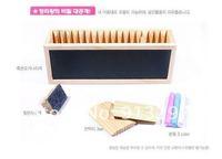 Канцелярский держатель drop shipping cutewooden pen stand desk holder/MEMO NOTE rack box/black borad double Container Organizer