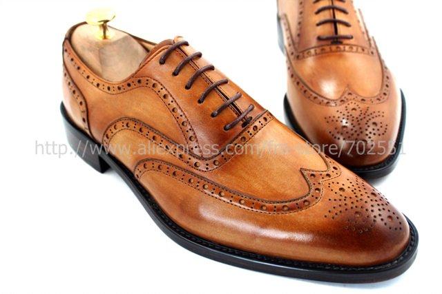 ADHESIVE CRAFT custom handmade genuine calf leather men's oxford shoe color brown No.OX208