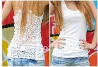 2012 Best Selling New Arrival Women's Tank Tops Hollow/out Pierced lace Elastic Vest Free shipping 8801