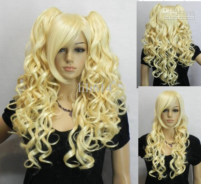 2012 New Blonde cosplay wig long curly hair prom wig party wig 5pcs/lot STOCK Mix order