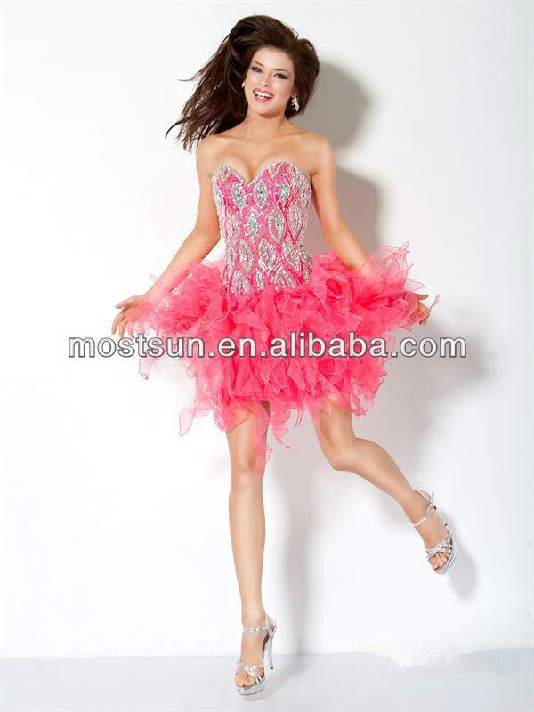 EV624 Fashion Sweetheart Beaded Torso Ruffle Skirt Adult Birthday Party Dresses Plus Size Women