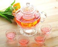 Посуда 600ml Pumpkin Glass Coffee/Tea Pot+ 4 Double-wall Cup + Warmer, Good Gift, A2 B05SD