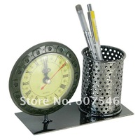 Будильник metal crafts handmade original gift pen container clock pen holder