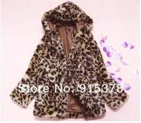 Женская одежда из меха AUTUMN WINTER WOMENS FASHION LEOPARD FAUX FUR HOODIES OUTERWEAR COAT+ LADY WARM NOBLE WEAR+ 5008