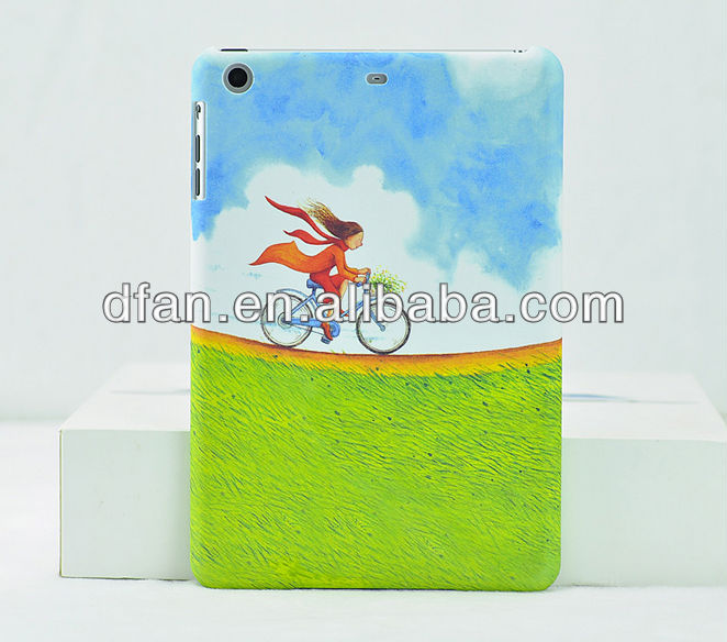 coloful cartoon matte hard pc case for ipad mini