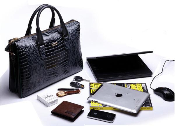 2014 Men's Crocodile Pattern Cowhide Leather Laptop Bag Wholesale