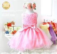 Летом цветок принцесса платье, кружевные розы партии свадьбы день рождения девочки платья, конфеты принцесса Туту элегантный