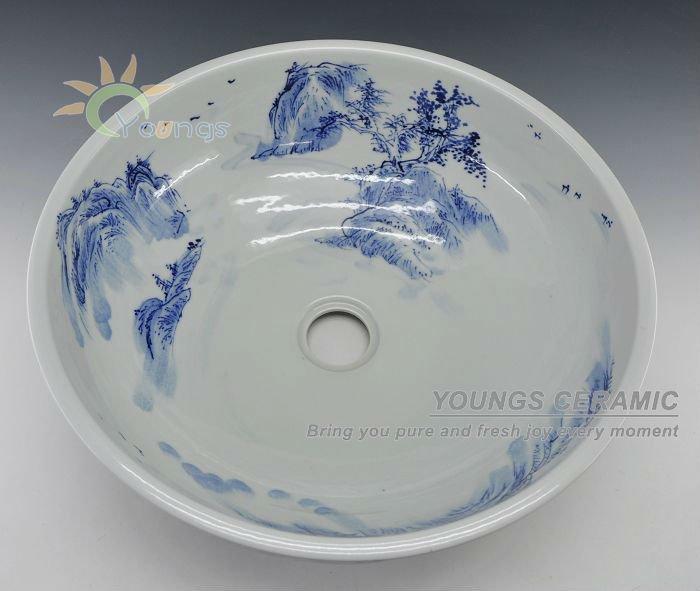 Arte Chinesa Pintado À Mão Azul De Porcelana Branca De Cerâmica Lavatório Do  -> Cuba Banheiro China