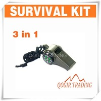 3 in1 Thermometer Compass Whistle Survival Camping 6146