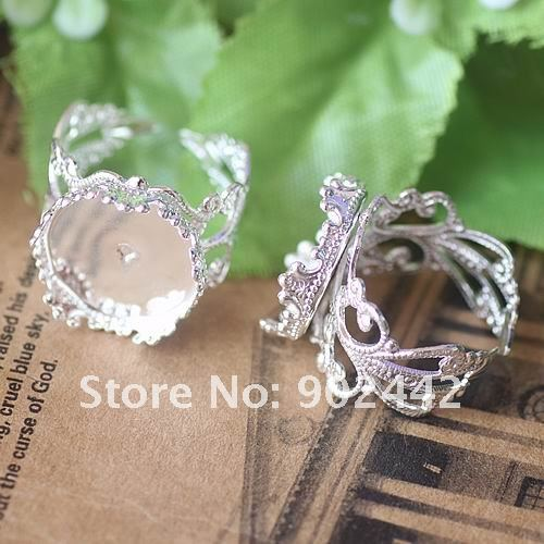 Free Shipping 200 pcs Adjustable Filigree Vintage Bronze Ring Bezel Trays With Crown Edge, 15 mm Inserted Size - 4 Design Chosen