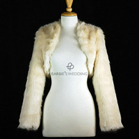 Свадебная накидка Long Sleeve Faux Fur Wedding Wrap Shrug Stole Shawl with Flower 0002