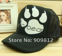 Женская бейсболка Bear footprints truck cap, Leisure hat, Hip-hop caps, Snapbacks hats, black / white