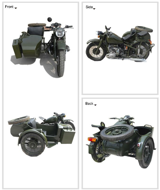 3 wheel green Classic sidecar motorcycle