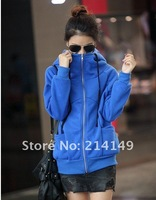 Женские толстовки и Кофты South Korea large size dress blue loose turtle neck fleeces thickening hooded health clothes coat 7397