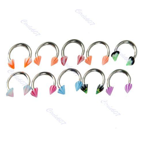 Free Shipping 20pcs/lot Mix MultiColor CBR Nose Ring Hoop Studs Rings Stainless Steel Bars