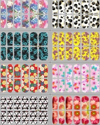 New arrival Nail polish sticker Easy to Use Nail Manicure Art Strips Patches Stickers 122+ styles,12pcs/set ,