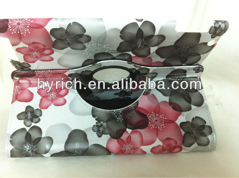 2013 popular fashion flower design rotating case for ipad 2 3 4 Stand Cover